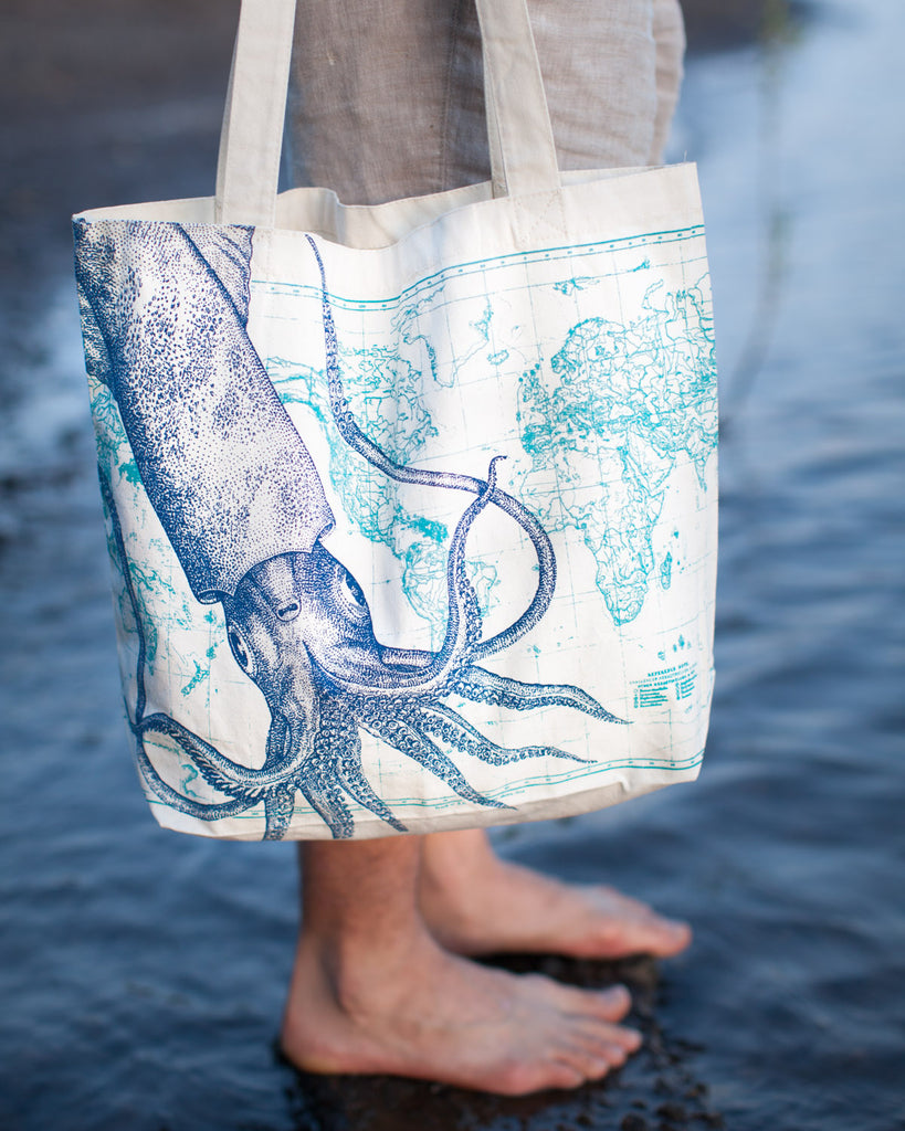 Squid Tote Bag - Eco Friendly Recycled Cotton - by Cognitive Surplus