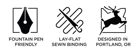 fountain pen friendly, lay-flat sewn binding, designed in portland, or
