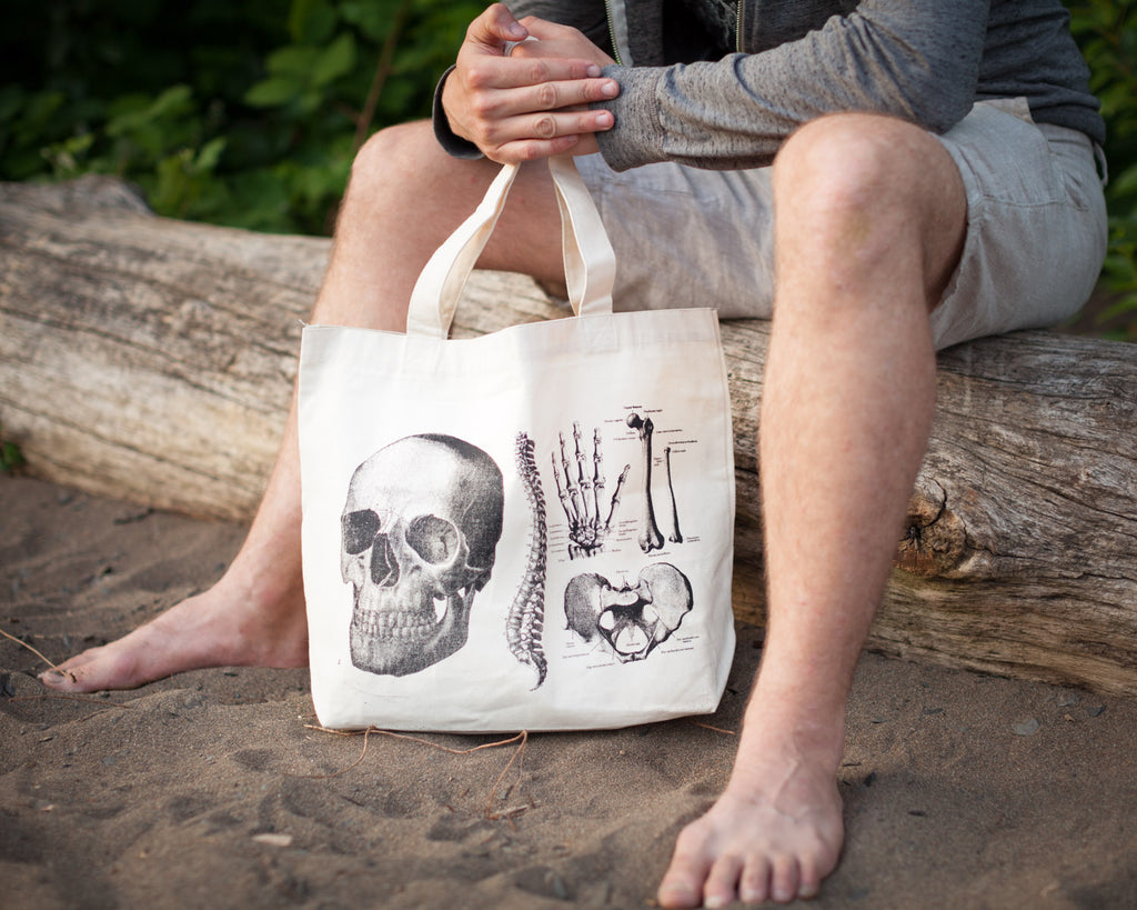 Skeleton Tote Bag - Eco Friendly Recycled Cotton - by Cognitive Surplus