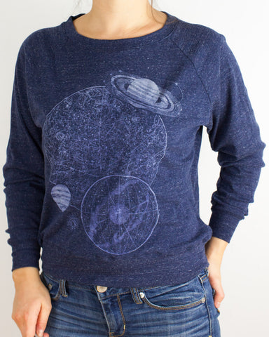 Astronomy Glow-in-the-Dark Long Sleeve Raglan Dolman Pullover - Cognitive Surplus - 1
