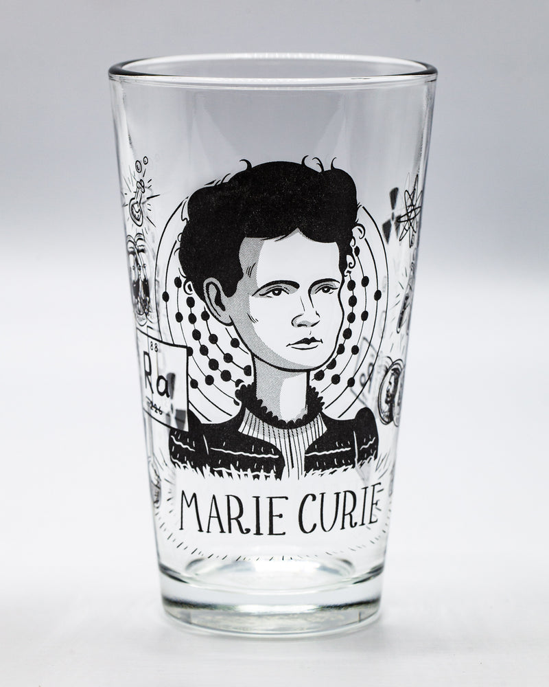 Marie Curie pint glass by Cognitive Surplus