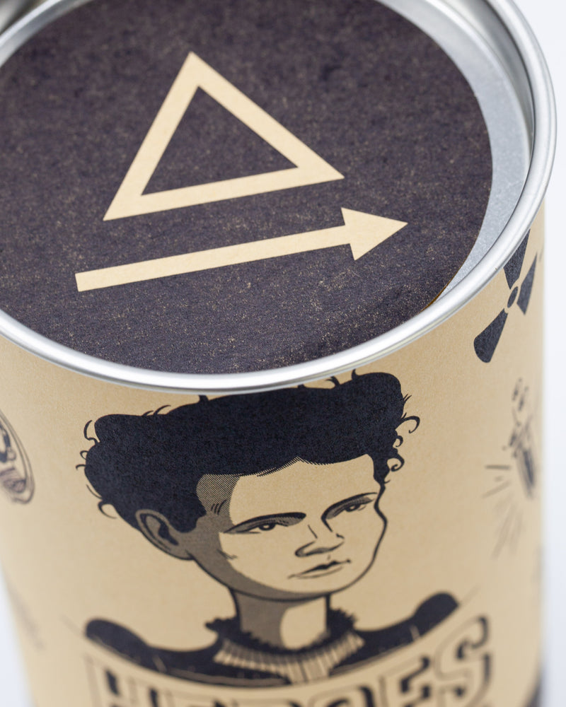 Metal cap of packaging for Marie Curie pint glass by Cognitive Surplus