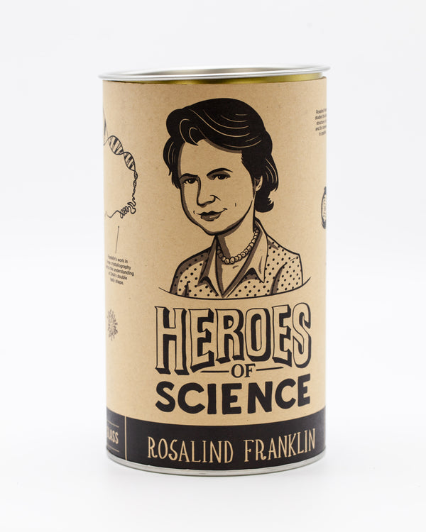 Front of metal-capped cardboard tube for Rosalind Franklin pint glass by Cognitive Surplus