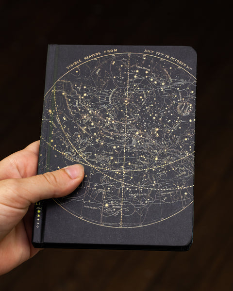 Case study mini hardcover astronomy notebook pictured in hand by Cognitive Surplus