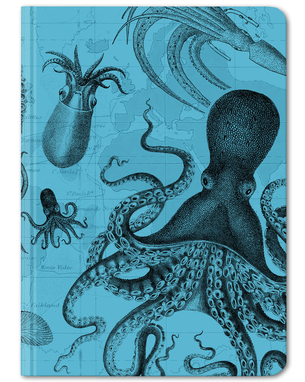 Cephalopod mini hardcover dot grid notebook by Cognitive Surplus, sea blue and black, 100% recycled paper