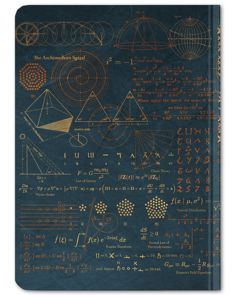 Back cover of Pythagoras Mathematics mini hardcover dot grid notebook by Cognitive Surplus, navy blue, 100% recycled paper