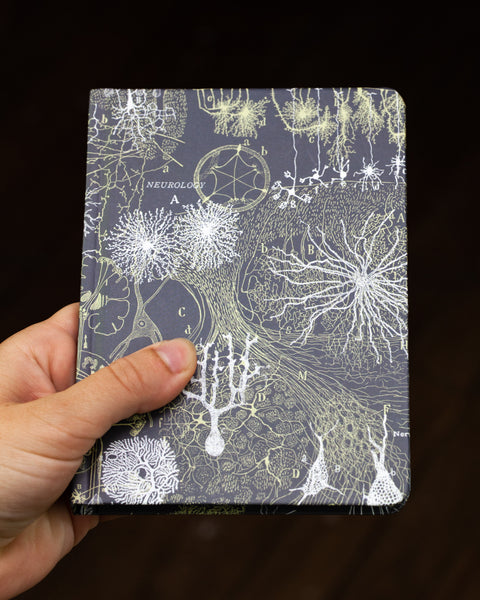 Case study mini hardcover neurons recycled notebook pictured in hand by Cognitive Surplus