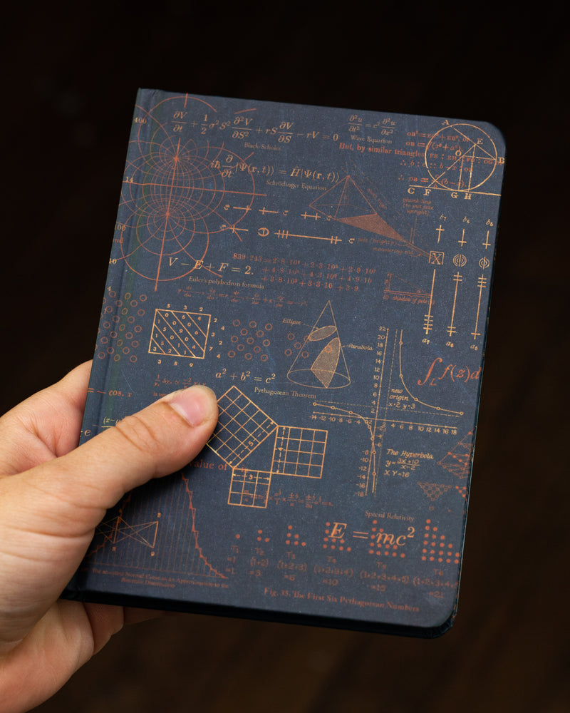 Case study mini hardcover math pythagoras recycled notebook pictured in hand by Cognitive Surplus