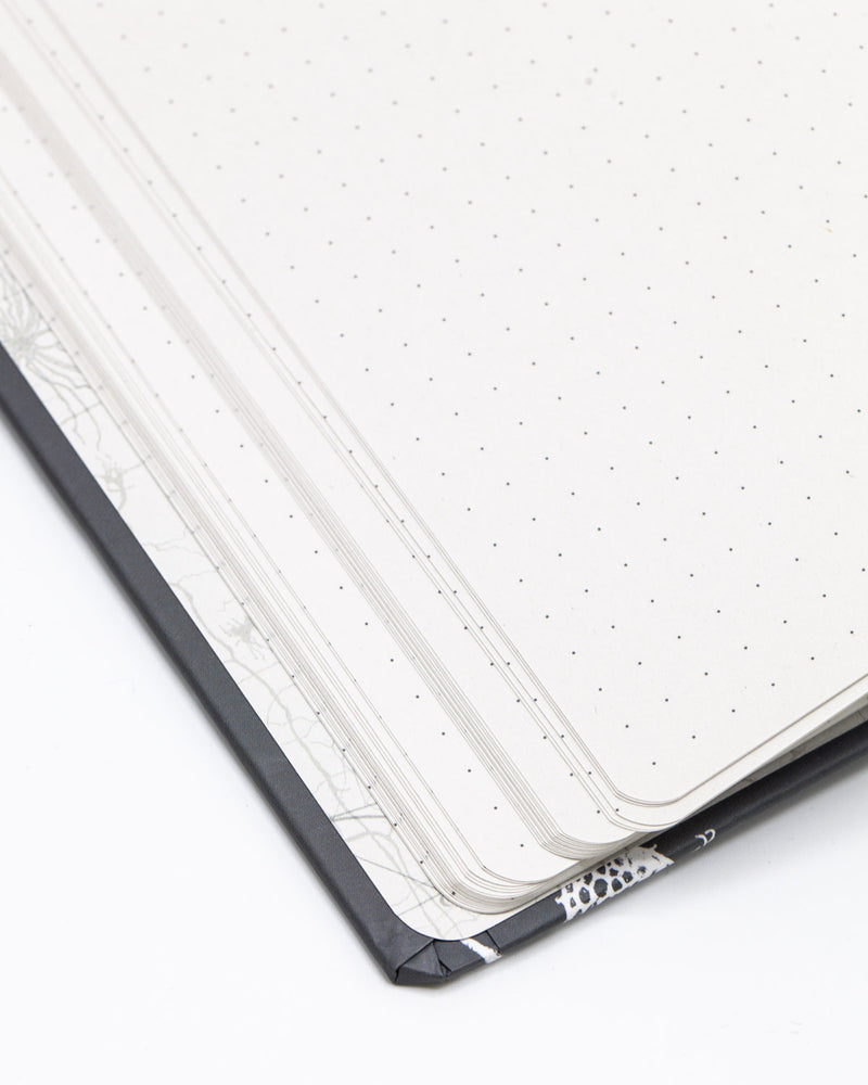 Inside cover of Neurons hardcover dot grid notebook by Cognitive Surplus, gray, yellow, and white, 100% recycled paper