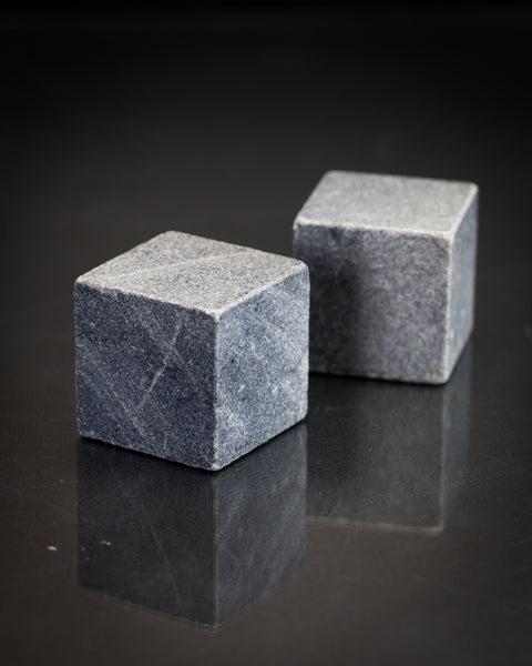 Set of extra large soapstone whiskey stones that celebrate the geology and chemistry in your glass