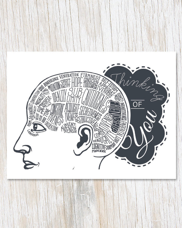 Thinking of You: Phrenology Greeting Card - Cognitive Surplus