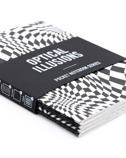Exploratorium Optical Illusions research series 4 pack by Cognitive Surplus, close up, detail, mini softcover, 100% recycled paper