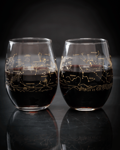 Astronomy night sky stemless wine glasses seconds