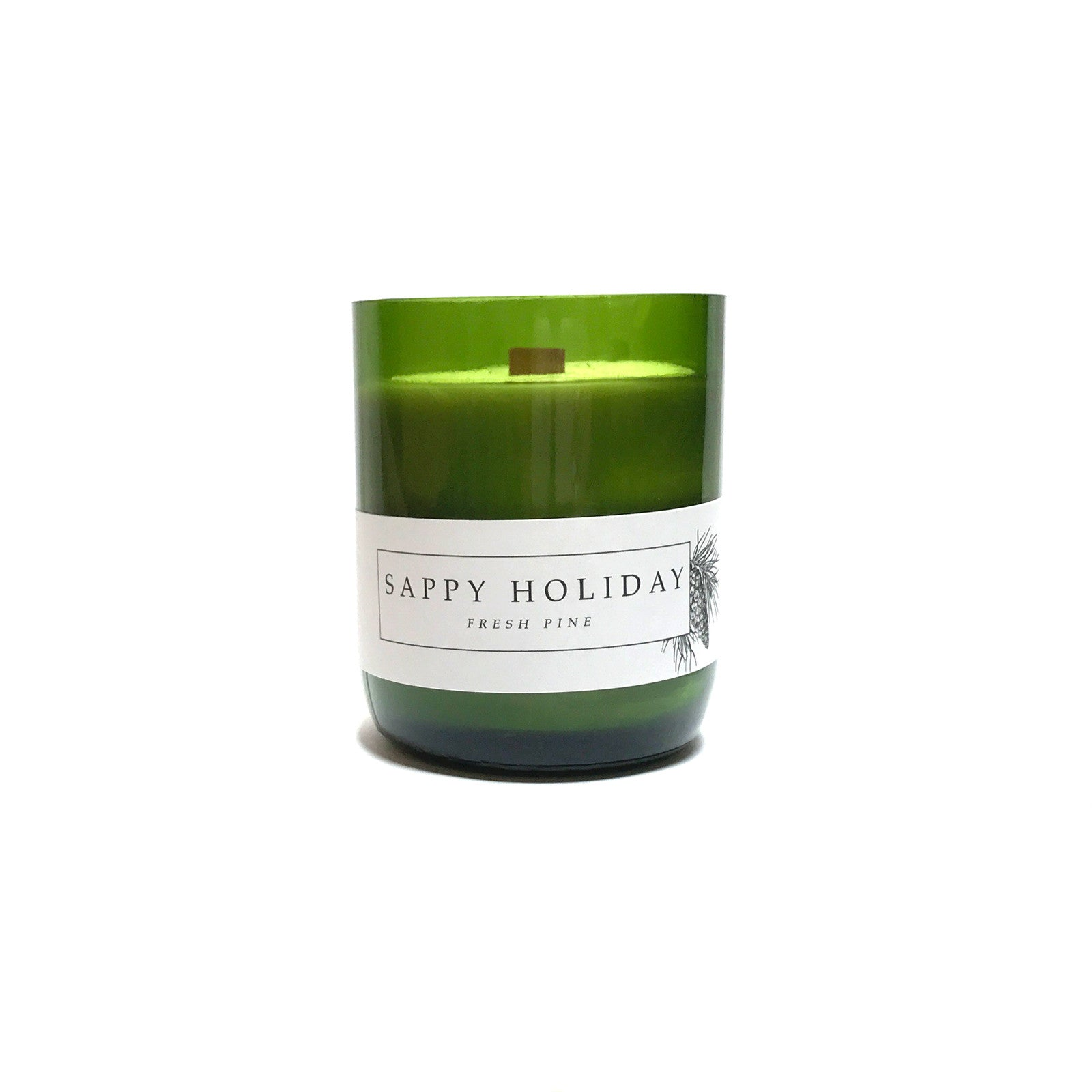Recycled Wine Bottle Woodwick Soy Candle, Sappy Holiday