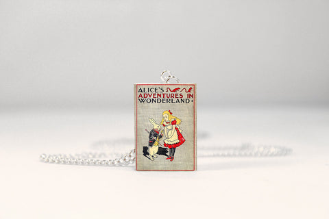 alice in wonderland miniature book necklace