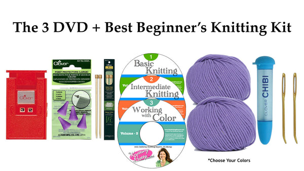 3 DVD Set + The Best Beginner's Knitting Kit