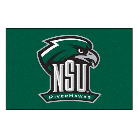 Northeastern State Riverhawks Green Tufted Area Rug