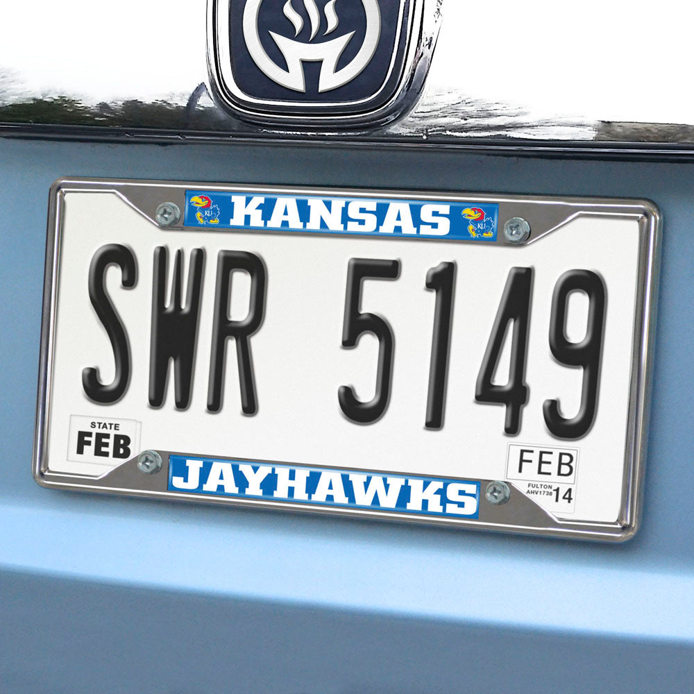 Kansas Jayhawks Mirror Finish License Plate Frame on Car
