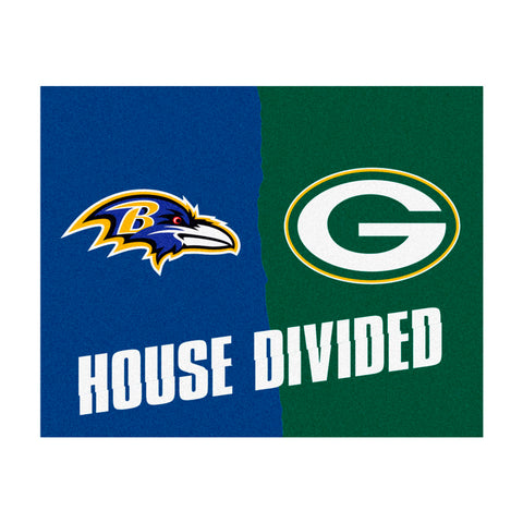 Baltimore Ravens vs Green Bay Packers Rivalry Rug