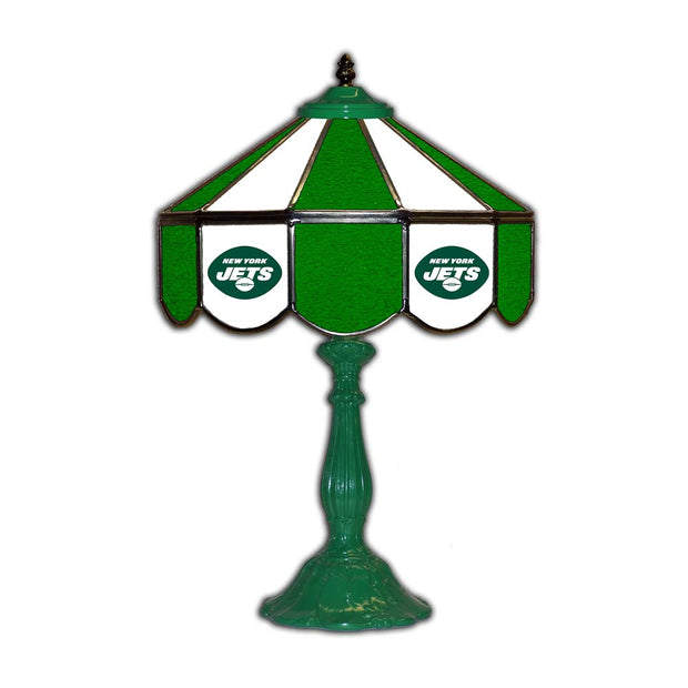 "New York Jets 21"" Tiffany Style Table Lamp w/ Glass Base"
