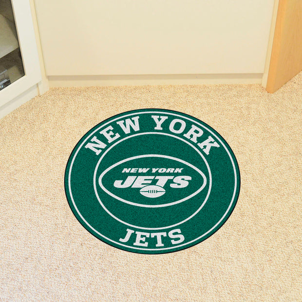 New York Jets Team Emblem Throw Rug in Room