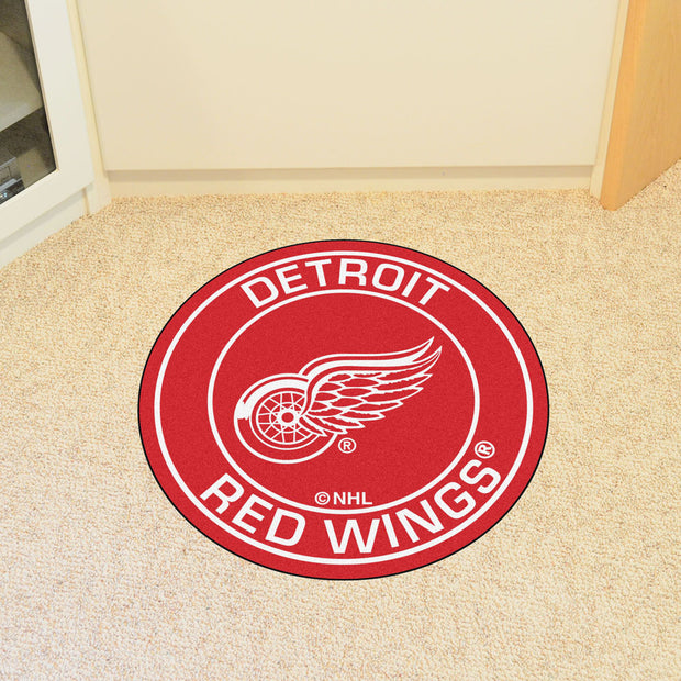 Detroit Red Wings Team Emblem Throw Rug - Team Sports Gift