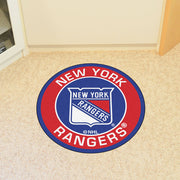 New York Rangers Team Emblem Throw Rug in Room
