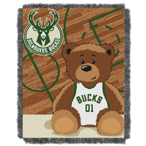 Milwaukee Bucks B-Ball Half Court Baby Blanket