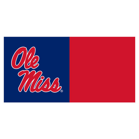 Ole Miss Rebels Blue/Red Team Proud Carpet Tiles in Man Cave Setting