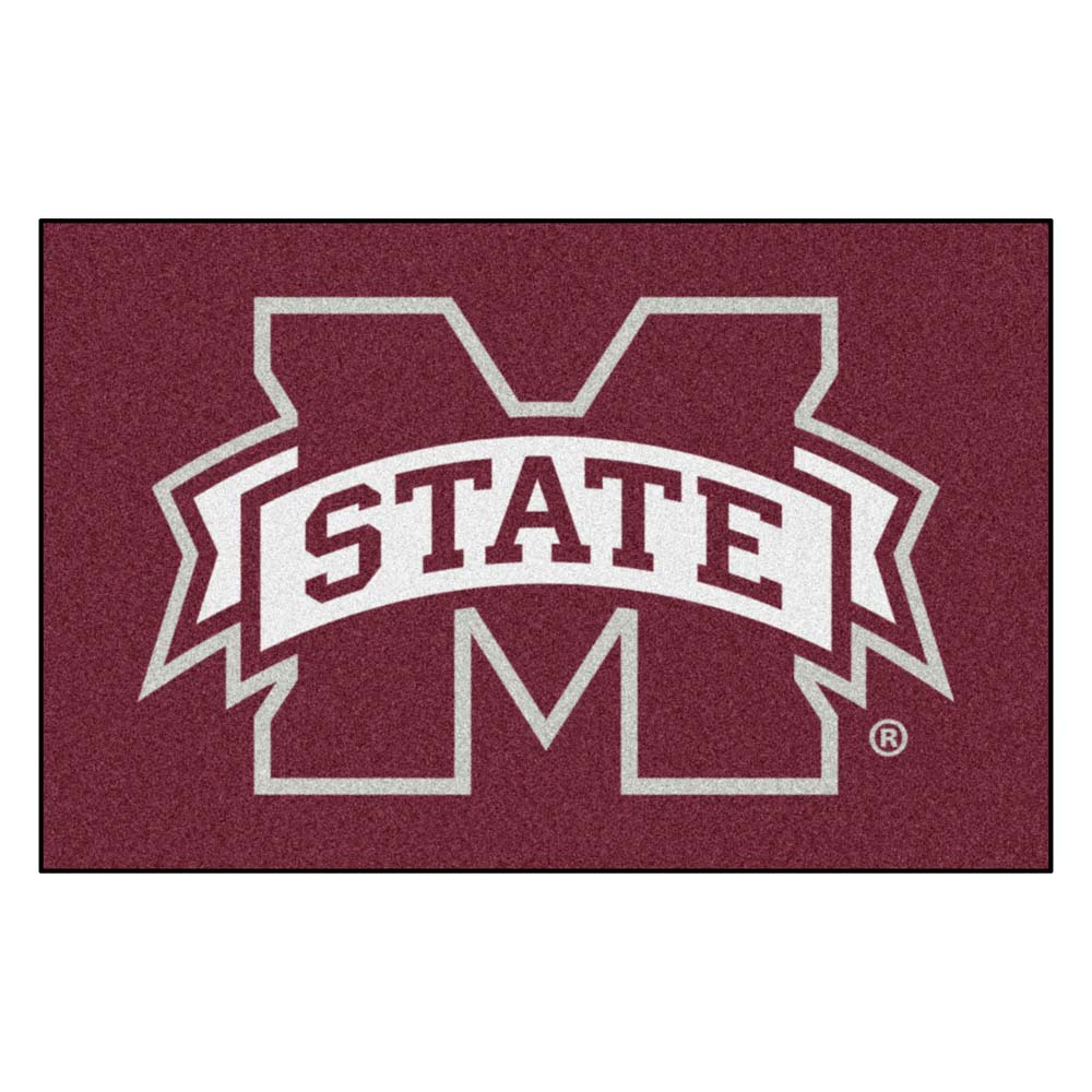 Mississippi State Bulldogs Red Tufted Area Rug