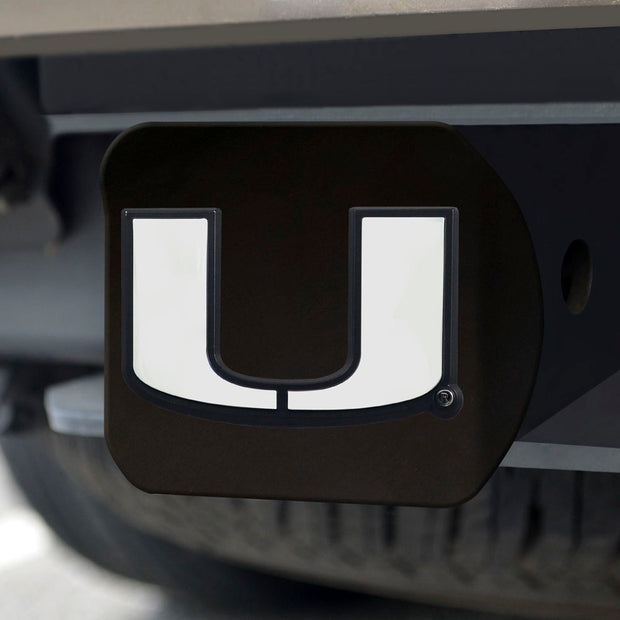 Miami Hurricanes Black Hitch Receiver Cover on Receiver