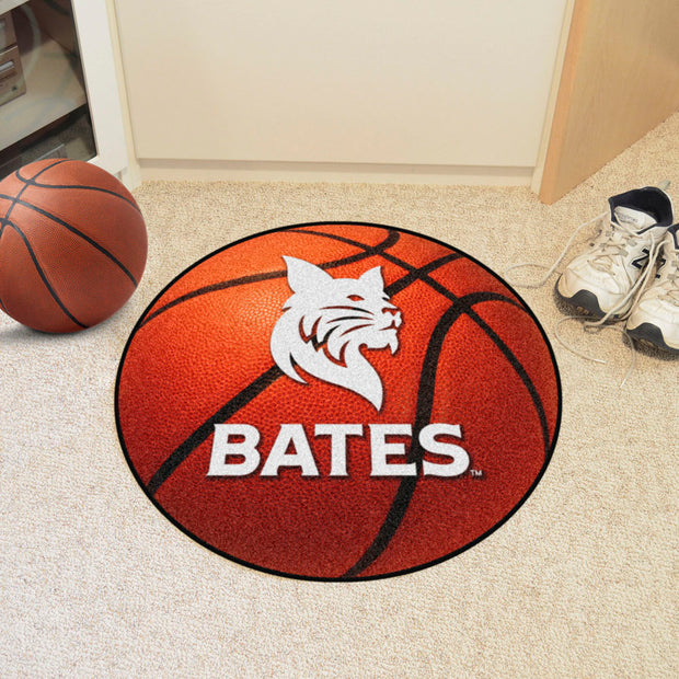 Bates Bobcats Basketball Area Rug in Room