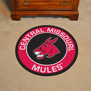Central Missouri Mules Team Emblem Throw Rug in Room