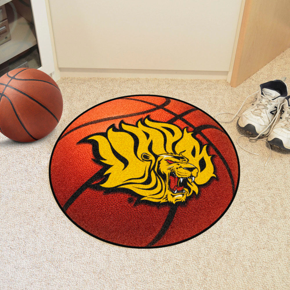 Arkansas-Pine Bluff Golden Lions Basketball Area Rug in Room