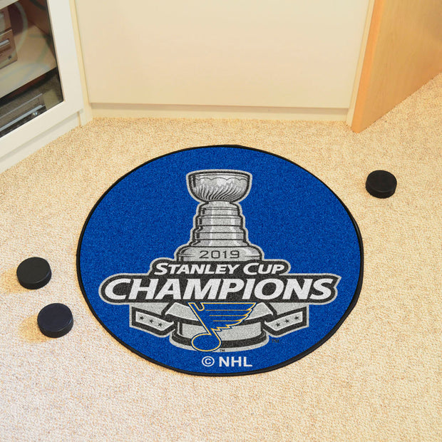 St. Louis Blues Stanley Cup 2019 Champions Hockey Puck Area Rug