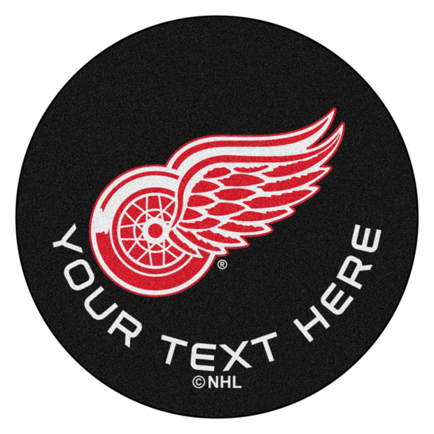 Personalized Detroit Red Wings Hockey Puck Rug