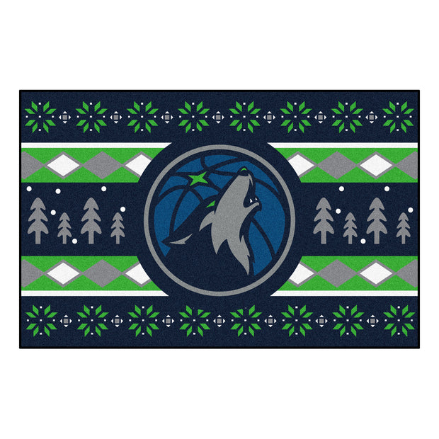 Minnesota Timberwolves Winter Holiday Floor Mat