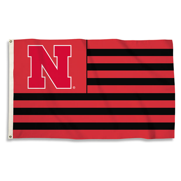Nebraska Cornhuskers Team Logo Stripe Flag
