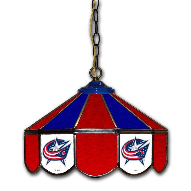"Columbus Blue Jackets 14"" Stained Glass Pub Light"