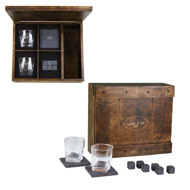 New York Jets Whiskey Cocktail Set with Oak Gift Box