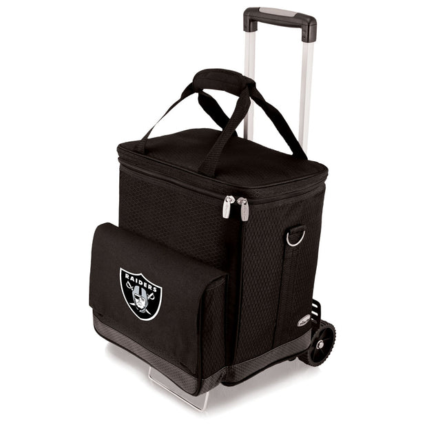 Las Vegas Raiders 6 Bottle Wine Cellar w/ Trolly in Black