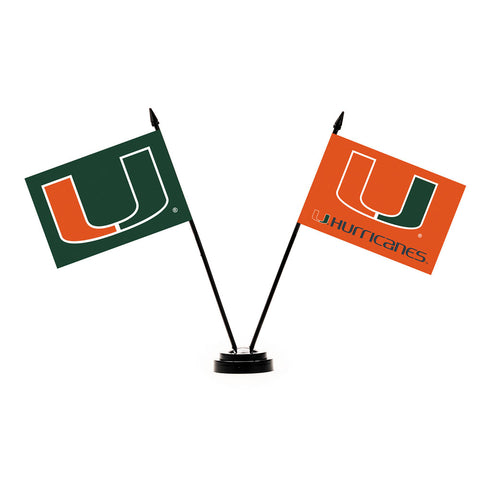 Miami Hurricanes Desk Flag Set