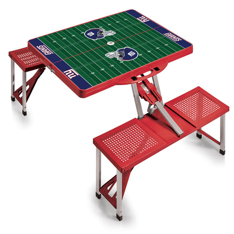 New York Giants Football Field Folding Picnic Table in Red