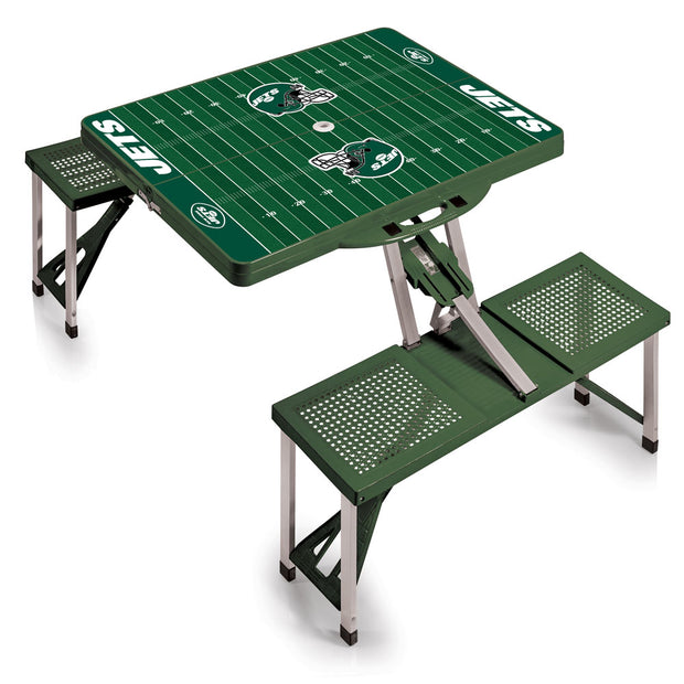 New York Jets Football Field Folding Picnic Table in Hunter Green
