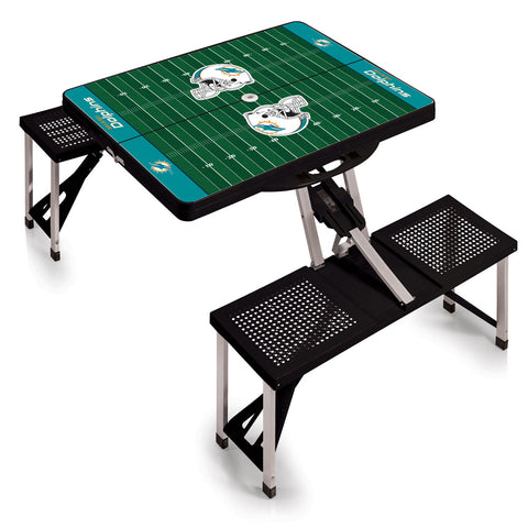Miami Dolphins Football Field Folding Picnic Table in Black