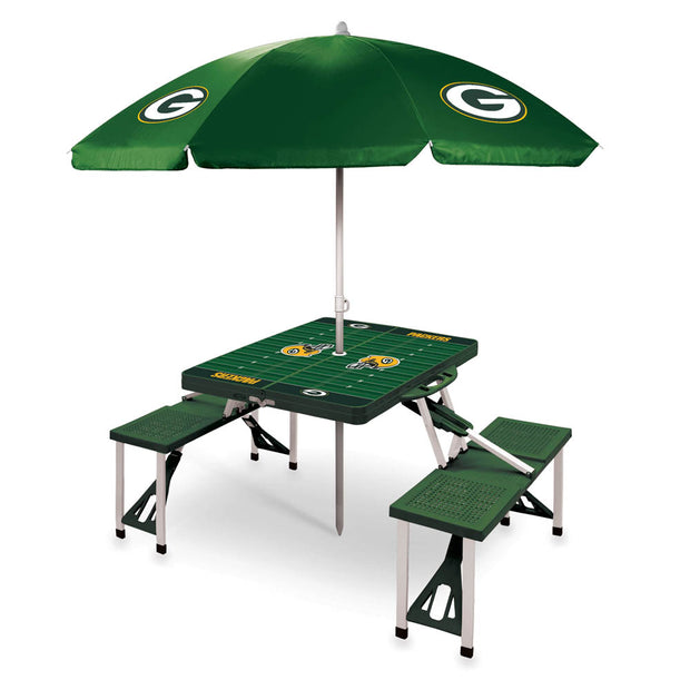 Green Bay Packers Folding Picnic Table w/ Umbrella
