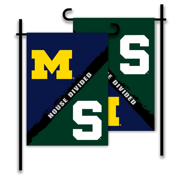 Michigan Wolverines vs Michigan State Spartans House Divided Garden Flag