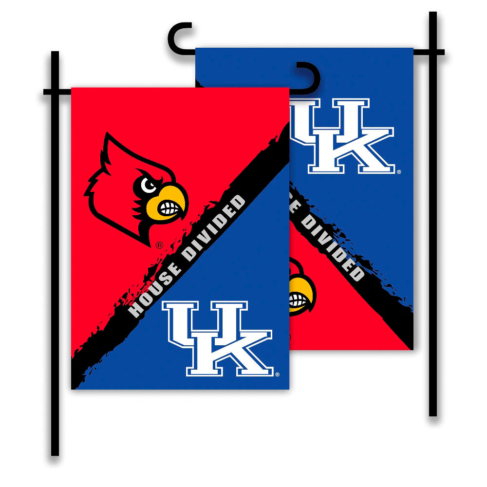 Kentucky Wildcats vs Louisville Cardinals House Divided Garden Flag