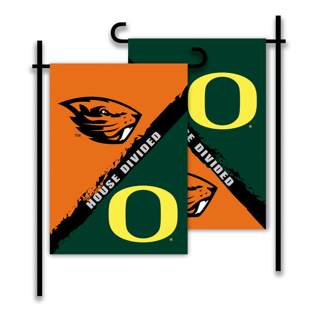 Oregon Ducks vs Oregon State Beavers House Divided Garden Flag