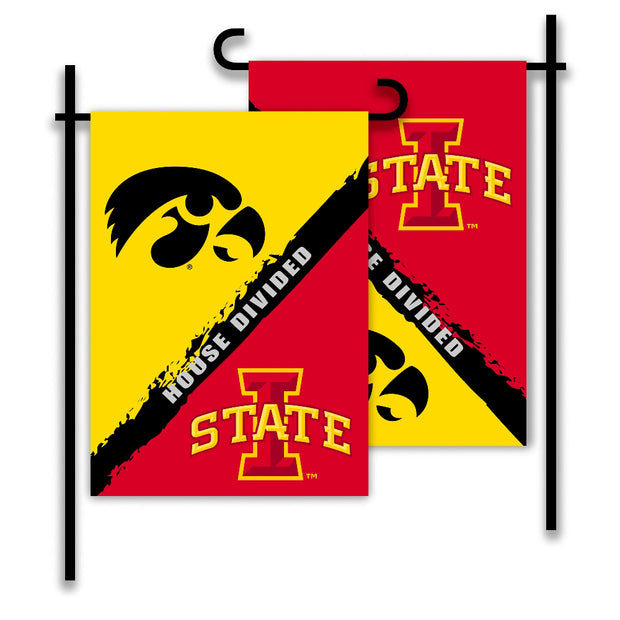 Iowa Hawkeyes vs Iowa State Cyclones House Divided Garden Flag
